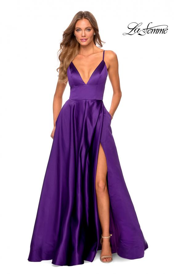 Picture of: V-Neck Satin Prom Dress with Lace Up Back in Royal Purple, Style: 28628, Detail Picture 8