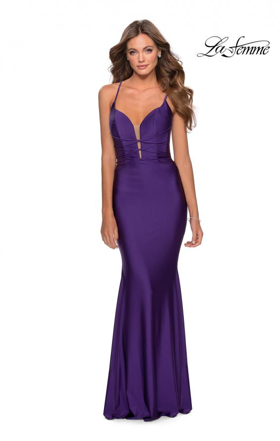 Picture of: Long Prom Dress with Knotted Detail and Lace Up Back in Royal Purple, Style: 28574, Detail Picture 3