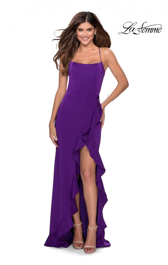Picture of: Ruffle Prom Dress with Scoop Neck and Lace Up Back in Royal Purple, Style: 28294, Detail Picture 5