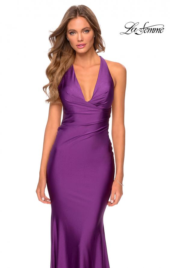 Picture of: Jersey Prom Dress with Deep Dramatic Neckline in Royal Purple, Style: 28579, Detail Picture 5