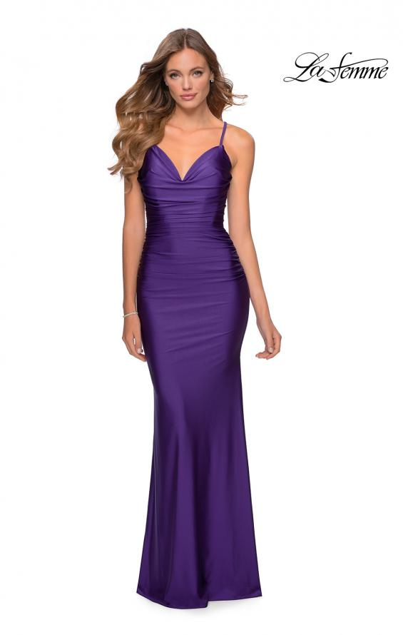Picture of: Form Fitting Jersey Dress with Ruching and Strappy Back in Royal Purple, Style: 27501, Detail Picture 6