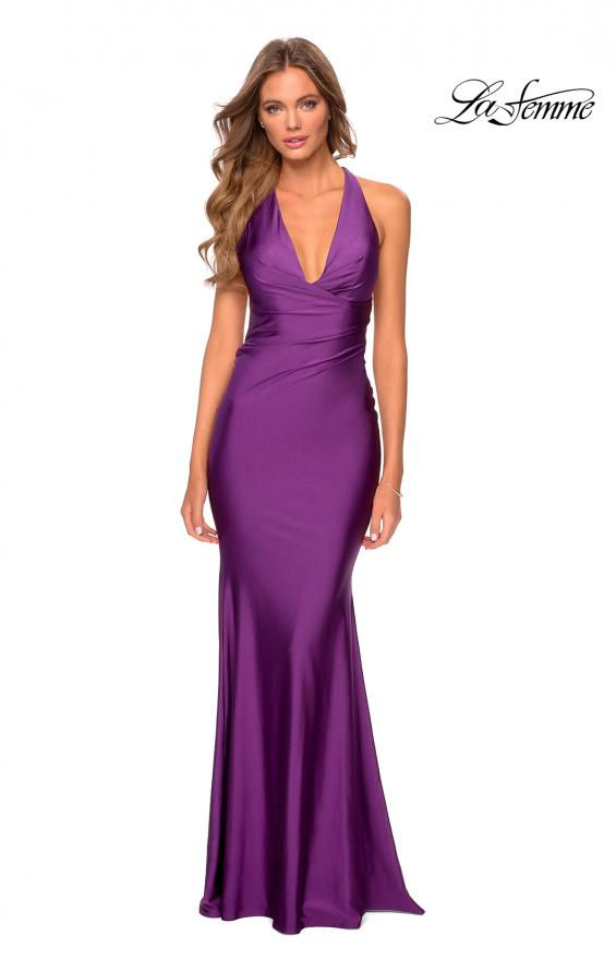 Picture of: Jersey Prom Dress with Deep Dramatic Neckline in Royal Purple, Style: 28579, Detail Picture 6