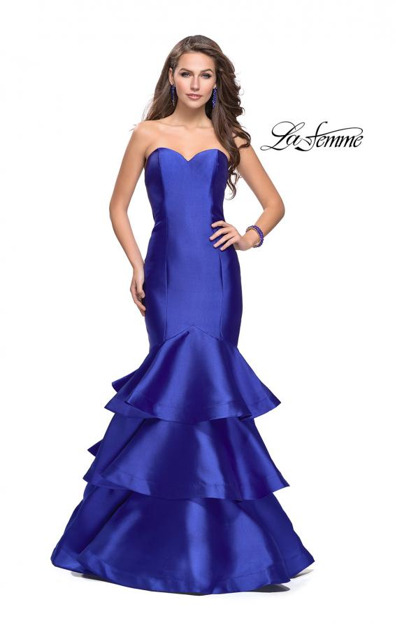 Picture of: Long Mikado Mermaid Gown with Tiered Ruffle Skirt in Royal Blue, Style: 25432, Main Picture
