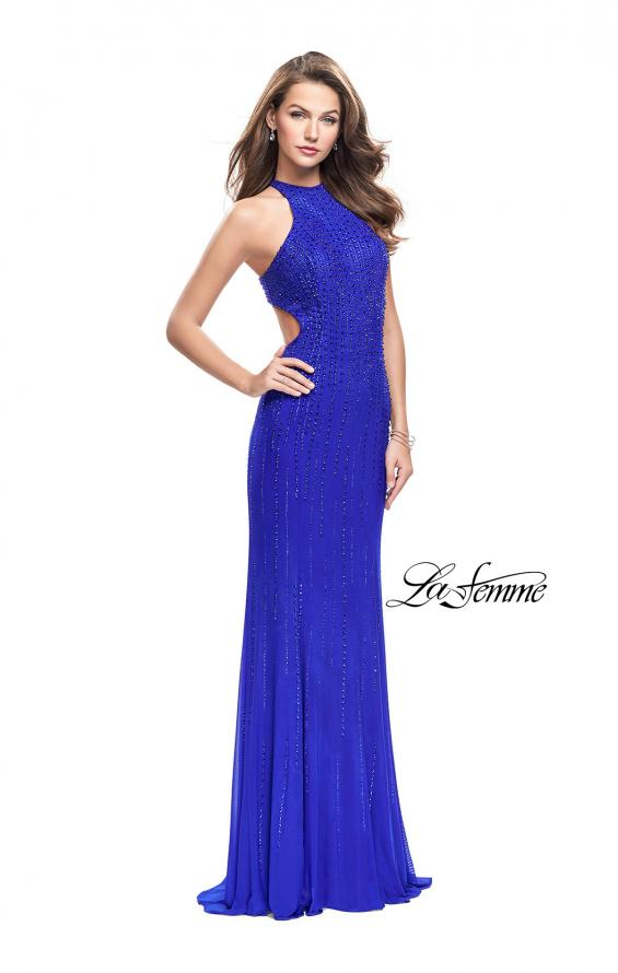 Picture of: Metallic Beaded Long Prom Dress with High Neck in Royal Blue, Style: 26182, Main Picture