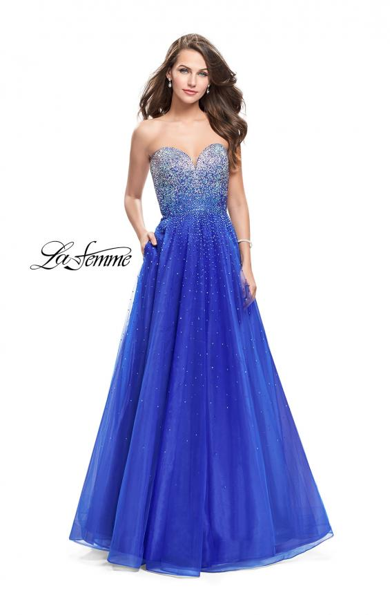 Picture of: Long Strapless Ball Gown with Metallic Ombre Rhinestones in Royal Blue, Style: 26264, Main Picture