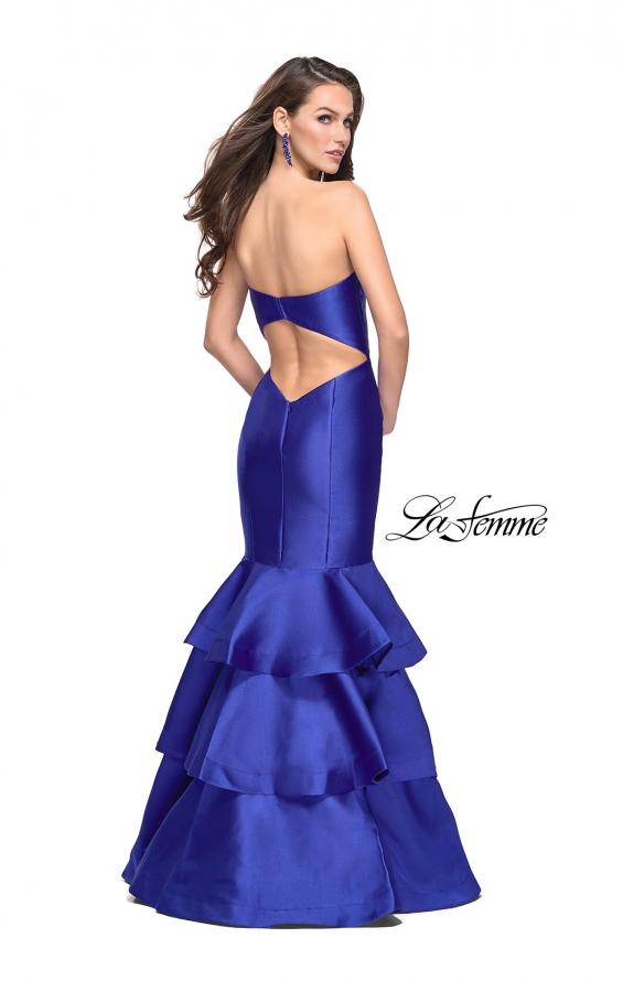 Picture of: Long Mikado Mermaid Gown with Tiered Ruffle Skirt in Royal Blue, Style: 25432, Back Picture