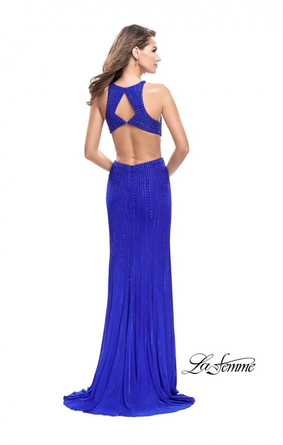 Picture of: Metallic Beaded Long Prom Dress with High Neck in Royal Blue, Style: 26182, Back Picture