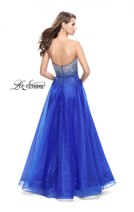 Picture of: Long Strapless Ball Gown with Metallic Ombre Rhinestones in Royal Blue, Style: 26264, Back Picture