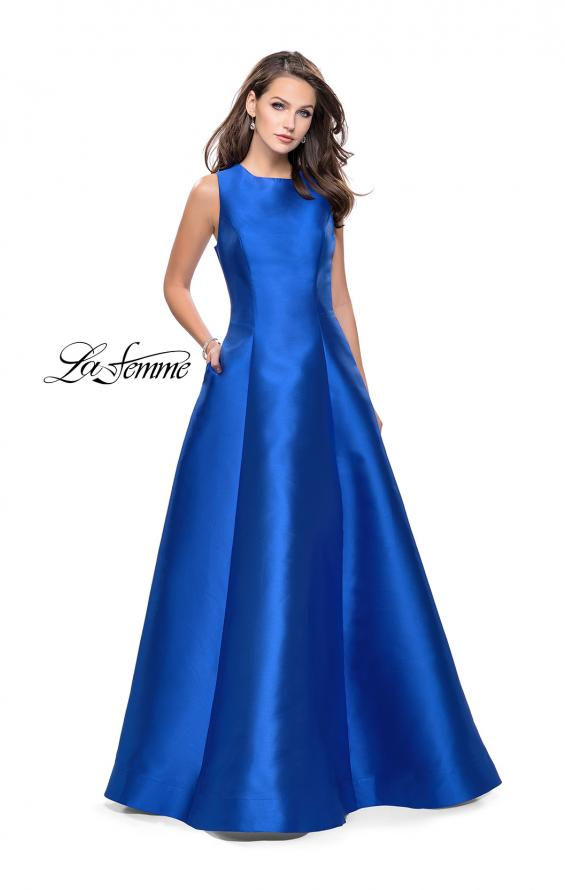 Picture of: Long Mikado Ball Gown with Boat Neck and Criss Cross Back in Royal Blue, Style: 25425, Detail Picture 1