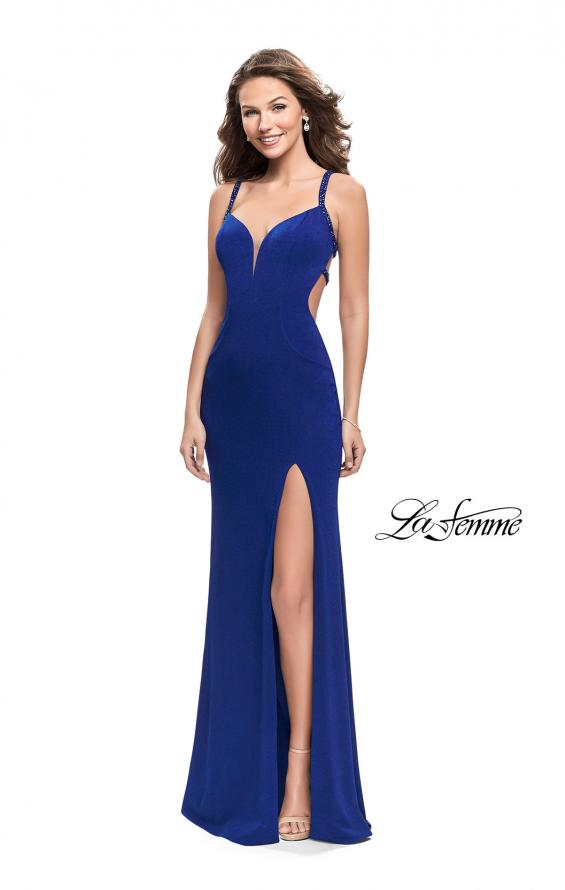 Picture of: Form Fitting Prom Dress with Metallic Straps and Slit in Royal Blue, Style: 26021, Detail Picture 1
