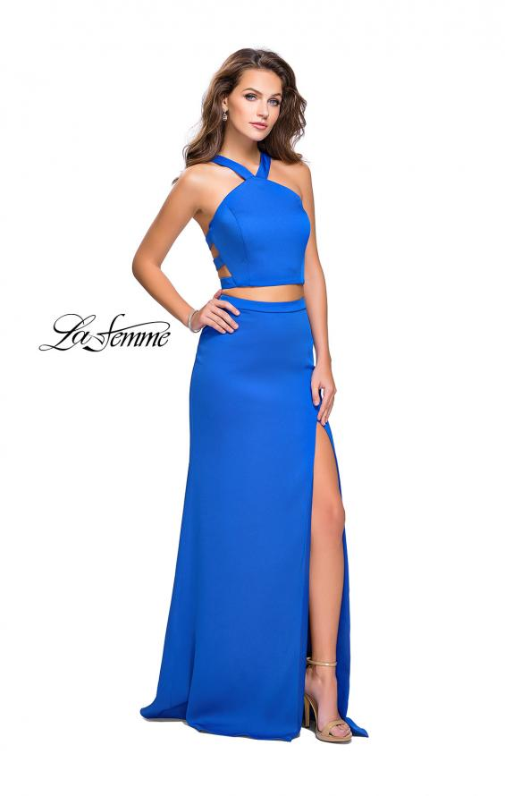 Picture of: Halter Two Piece Satin Prom Dress with Caged Back in Royal Blue, Style: 26171, Detail Picture 2