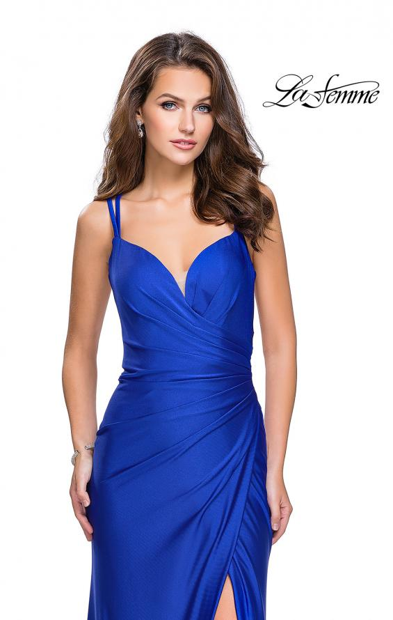 Picture of: Long Jersey Prom Dress with Ruching Side Wrap Detail, Style: 26317, Detail Picture 2