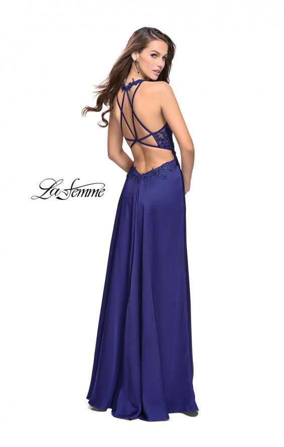 Picture of: Beaded and Embroidered Lace Prom Dress with Slit in Royal Blue, Style: 26124, Detail Picture 3