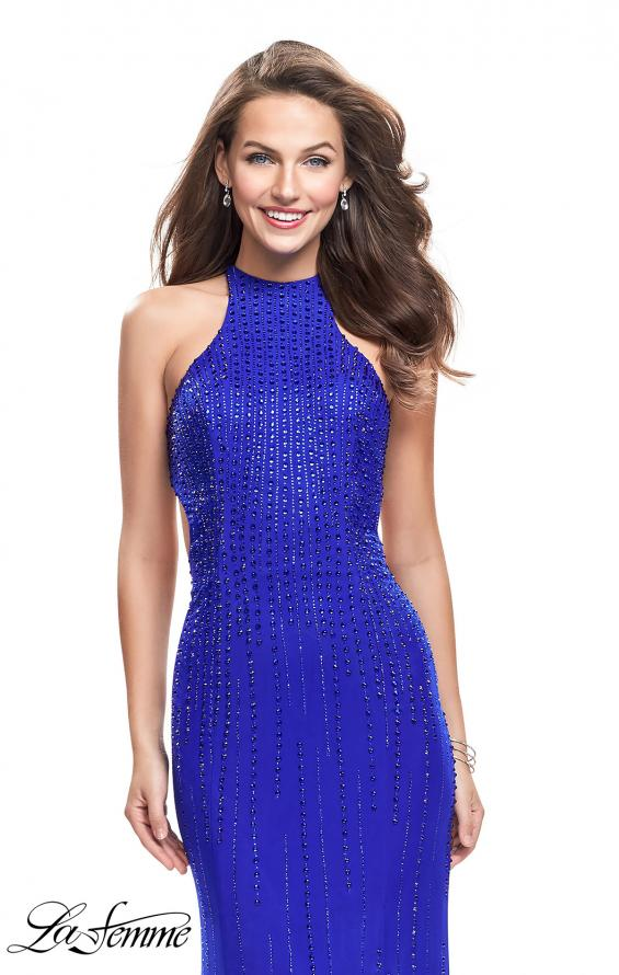 Picture of: Metallic Beaded Long Prom Dress with High Neck in Royal Blue, Style: 26182, Detail Picture 3