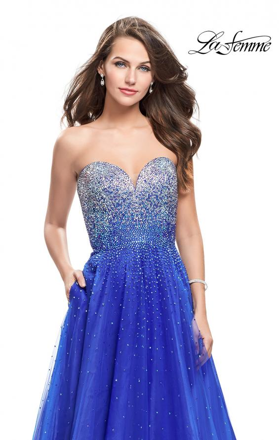 Picture of: Long Strapless Ball Gown with Metallic Ombre Rhinestones in Royal Blue, Style: 26264, Detail Picture 3