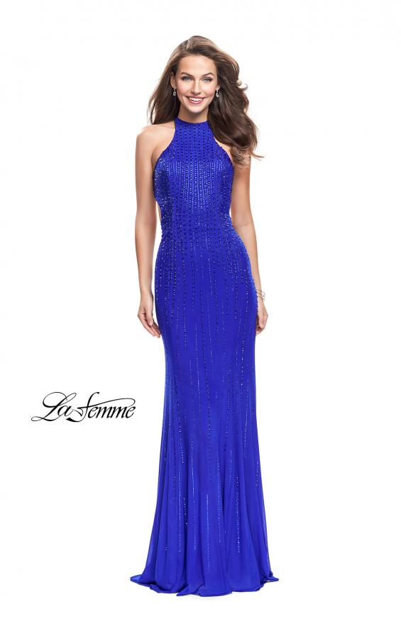 Picture of: Metallic Beaded Long Prom Dress with High Neck in Royal Blue, Style: 26182, Detail Picture 2