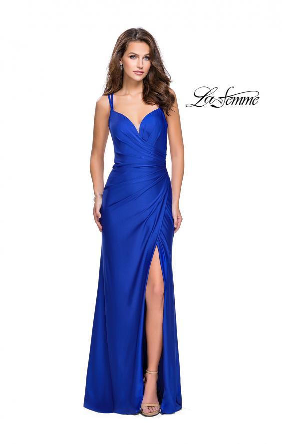 Picture of: Long Jersey Prom Dress with Ruching Side Wrap Detail, Style: 26317, Detail Picture 4