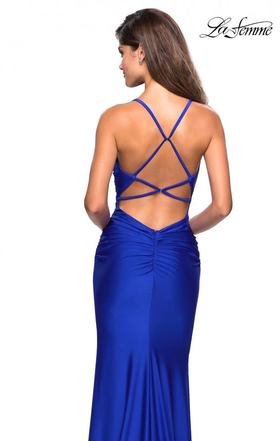Picture of: Form Fitting Jersey Dress with Ruching and Strappy Back in Sapphire Blue, Style: 27501, Back Picture