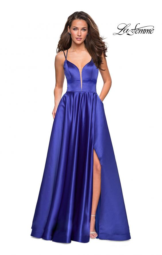 Picture of: Long Satin Formal Gown with Leg Slit and Strappy Back in Sapphire Blue, Style: 26994, Detail Picture 4