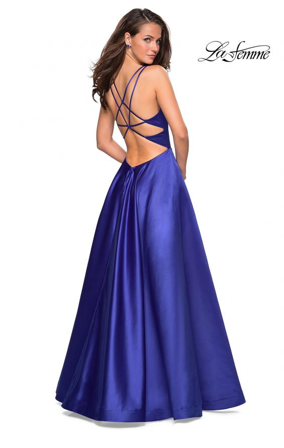 Picture of: Long Satin Formal Gown with Leg Slit and Strappy Back in Sapphire Blue, Style: 26994, Detail Picture 5
