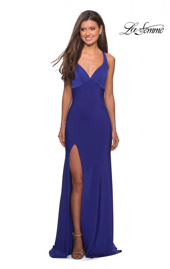 Picture of: Classic Form Fitting Jersey Floor Length Prom Dress in Sapphire Blue, Style: 27581, Detail Picture 5