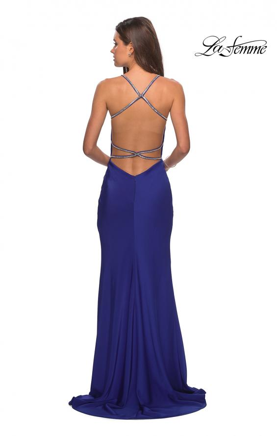 Picture of: Classic Form Fitting Jersey Floor Length Prom Dress in Sapphire Blue, Style: 27581, Detail Picture 6