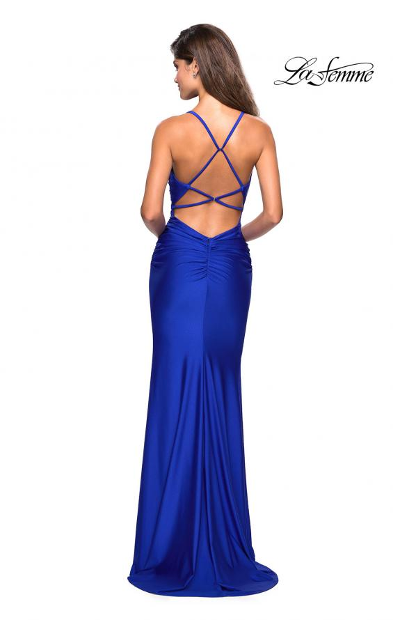 Picture of: Form Fitting Jersey Dress with Ruching and Strappy Back, Style: 27501, Detail Picture 7
