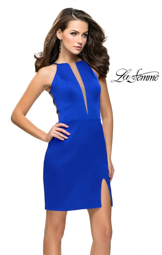 Picture of: Chic Satin Mini Dress with High Neck and Slit, Style: 26657, Back Picture