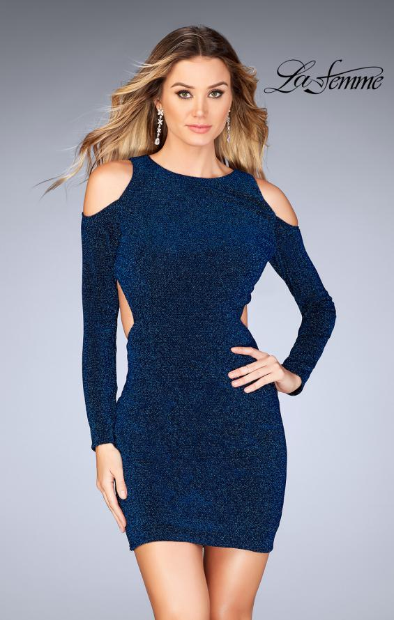 Picture of: Long Sleeve Short Dress with Shoulder Cut Outs, Style: 25306, Detail Picture 1