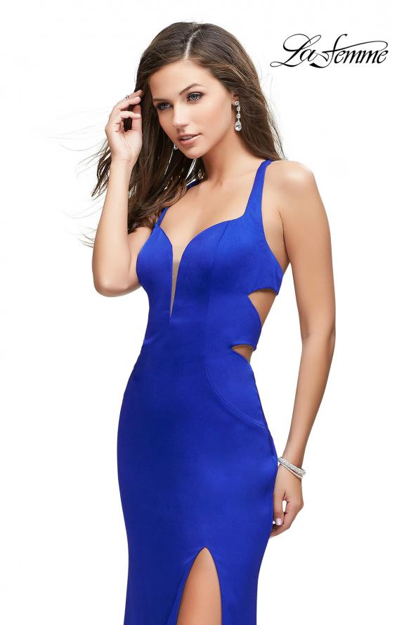 Picture of: Form Fitting Satin Gown with Side Cut Outs and V Neckline in Sapphire Blue, Style: 25853, Main Picture