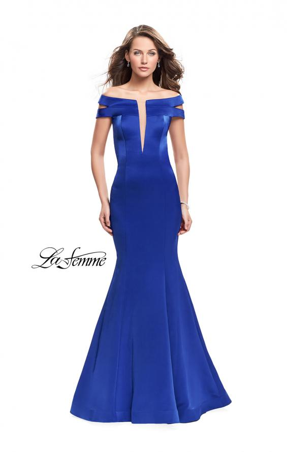 Picture of: Satin Off the Shoulder Mermaid Prom Dress with V Neck in Sapphire Blue, Style: 25903, Main Picture
