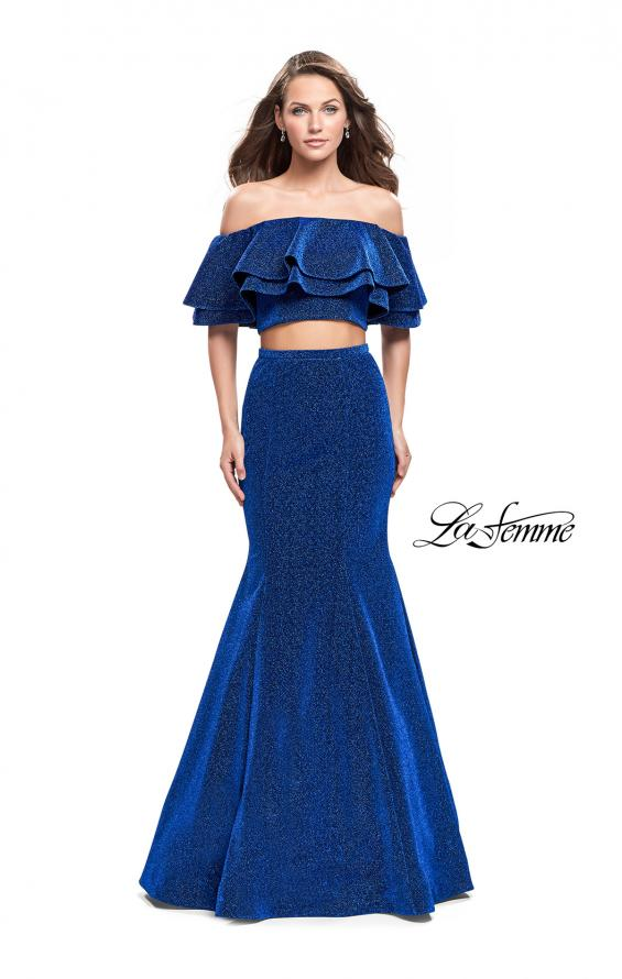 Picture of: Long Sparkling Off the Shoulder Jersey Prom Dress in Sapphire Blue, Style: 26324, Main Picture