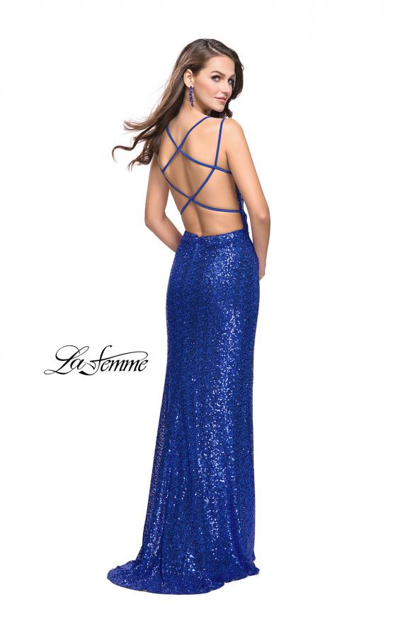 Picture of: Long Sequin Prom Dress with Side Ruching in Sapphire Blue, Style: 25492, Back Picture