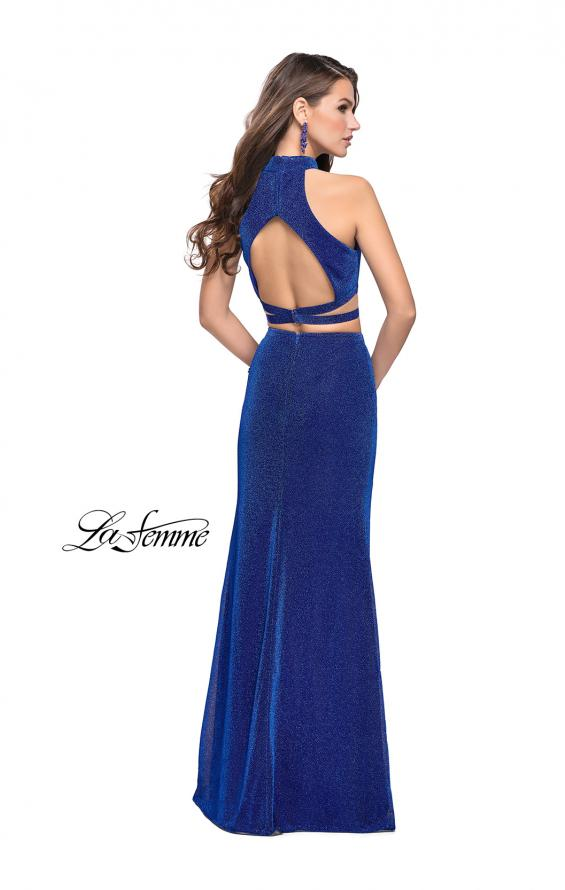 Picture of: Two Piece Jersey Prom Dress with Open Back and Leg Slit in Sapphire Blue, Style: 25604, Back Picture