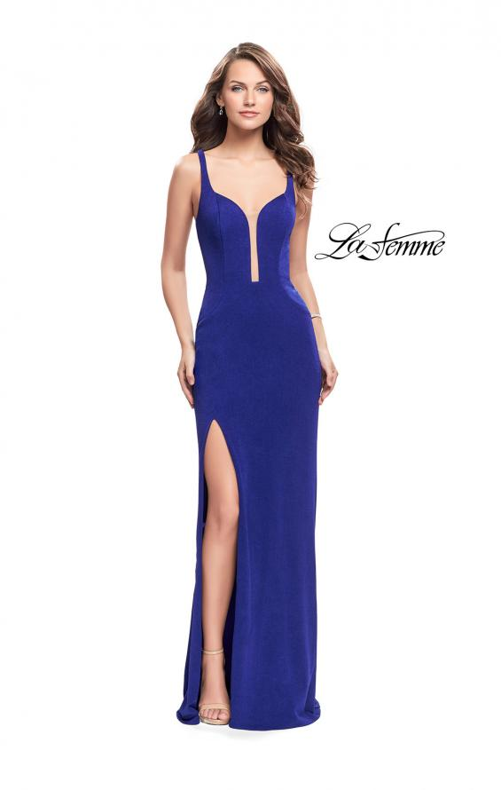 Picture of: Long Jersey Prom Dress with Caged Strappy Open Back in Sapphire Blue, Style: 25720, Back Picture