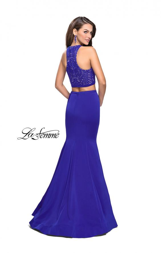 Picture of: Two Piece Jersey Prom Dress with Laser Cut Outs in Sapphire Blue, Style: 25759, Back Picture