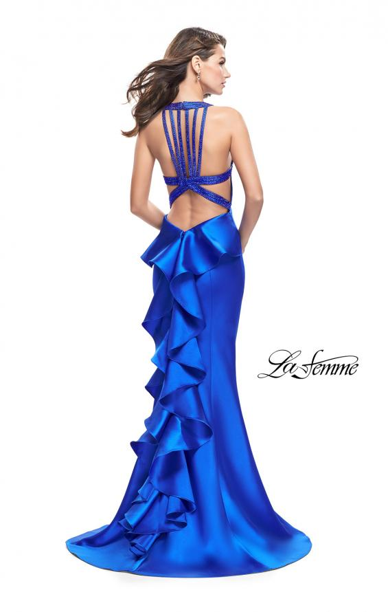 Picture of: Mikado Mermaid Dress with Embellished High Neckline in Sapphire Blue, Style: 25838, Back Picture