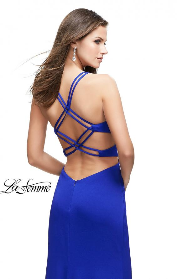 Picture of: Form Fitting Satin Gown with Side Cut Outs and V Neckline in Sapphire Blue, Style: 25853, Back Picture