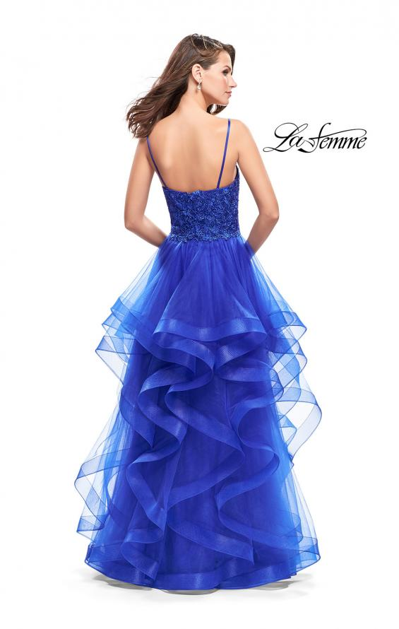 Picture of: Long Ball Gown with Tulle Skirt and Beaded Lace Bodice in Sapphire Blue, Style: 25857, Back Picture