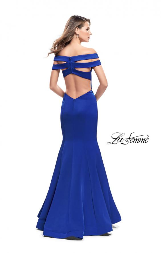 Picture of: Satin Off the Shoulder Mermaid Prom Dress with V Neck in Sapphire Blue, Style: 25903, Back Picture