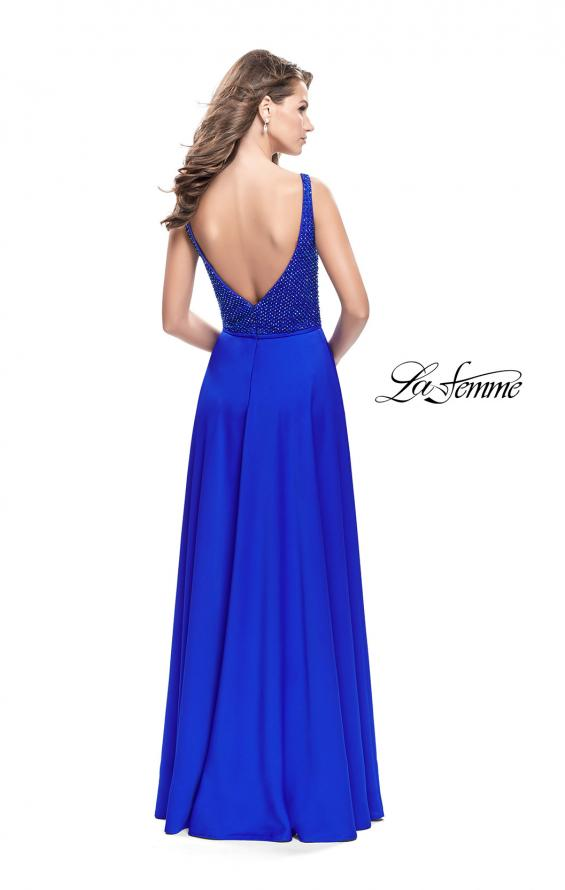 Picture of: Long Satin Prom Gown with Beaded Bodice and V Back in Sapphire Blue, Style: 26275, Back Picture