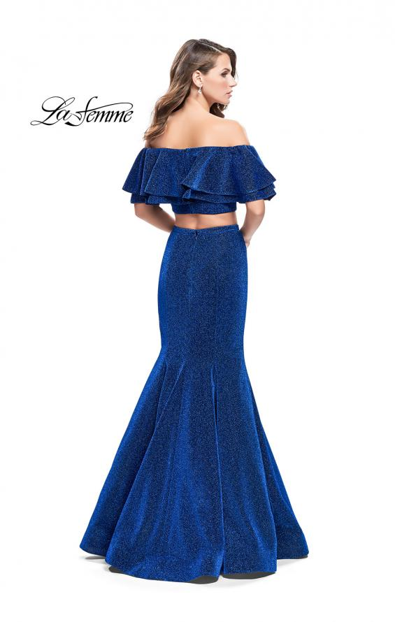 Picture of: Long Sparkling Off the Shoulder Jersey Prom Dress in Sapphire Blue, Style: 26324, Back Picture