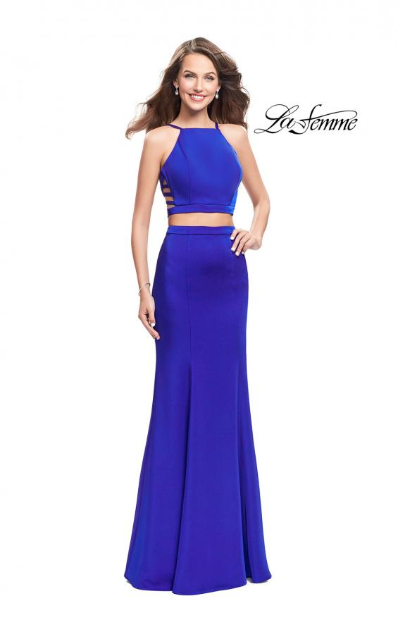 Picture of: Two Piece Jersey Prom Dress with High Neckline in Sapphire Blue, Style: 25220, Detail Picture 1