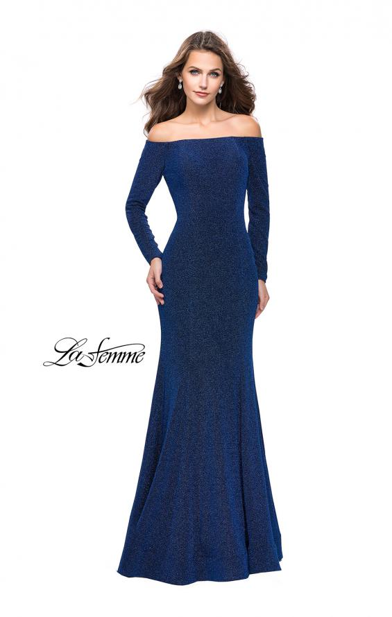 Picture of: Long Sleeve Off the Shoulder Prom Dress with Open Back in Sapphire Blue, Style: 25412, Detail Picture 1