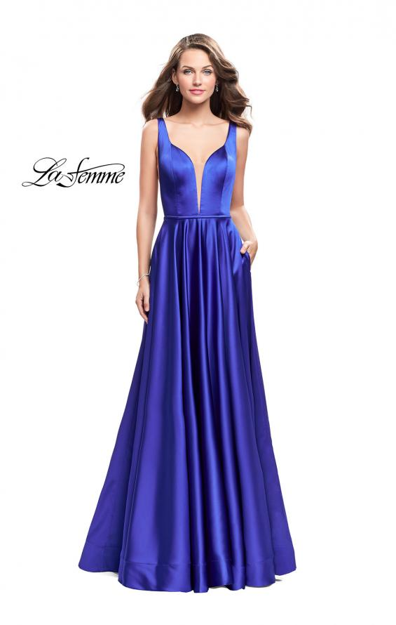 Picture of: Satin A line Prom Dress with Deep V Back in Sapphire Blue, Style: 25455, Detail Picture 1
