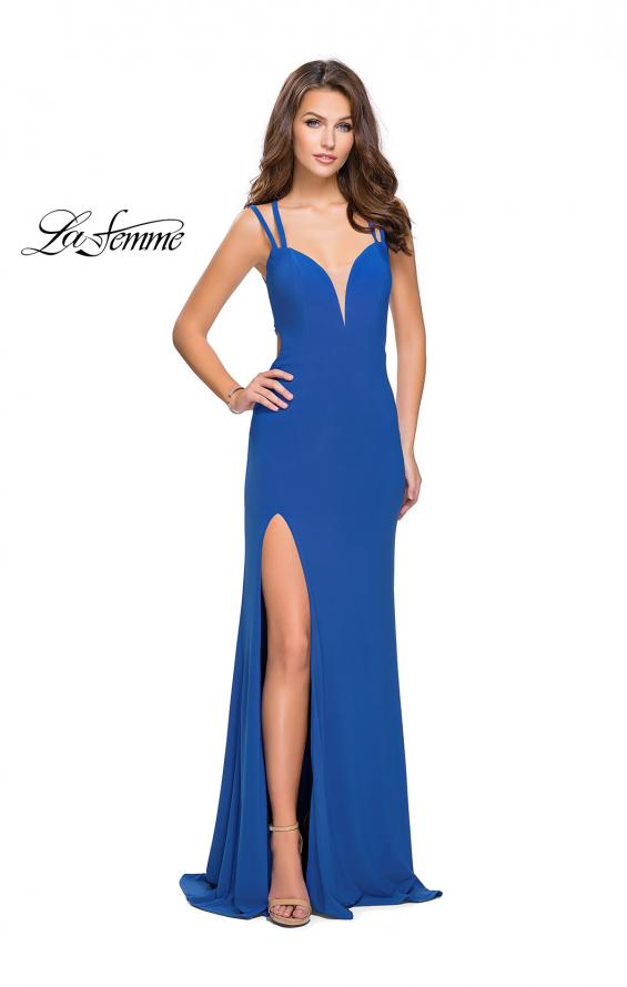 Picture of: Long Classic Prom Dress with Side Leg Slit and Deep V, Style: 25648, Detail Picture 1