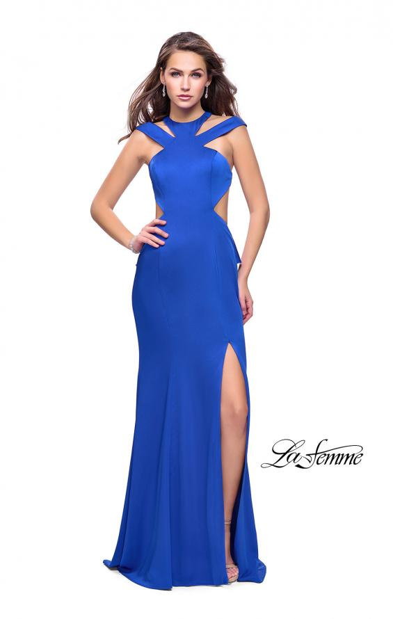 Picture of: Long Jersey Prom Dress with Ruffle Detail and Slit in Sapphire Blue, Style: 25971, Detail Picture 1