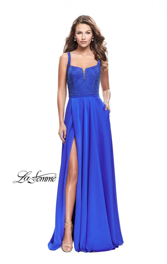 Picture of: Long Satin Prom Gown with Beaded Bodice and V Back in Sapphire Blue, Style: 26275, Detail Picture 1