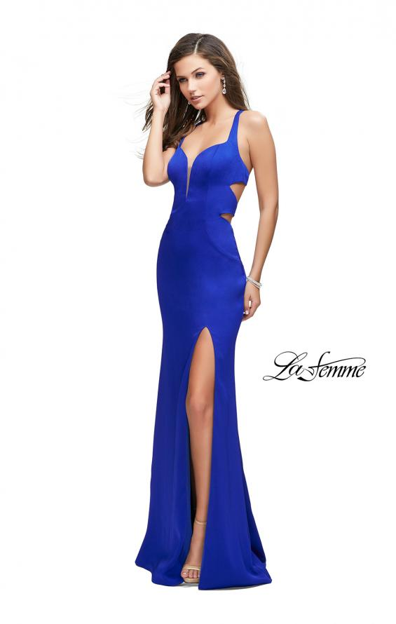Picture of: Form Fitting Satin Gown with Side Cut Outs and V Neckline in Sapphire Blue, Style: 25853, Detail Picture 3