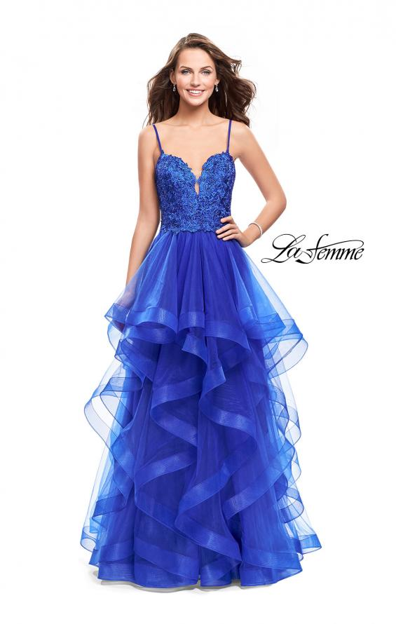 Picture of: Long Ball Gown with Tulle Skirt and Beaded Lace Bodice in Sapphire Blue, Style: 25857, Detail Picture 3